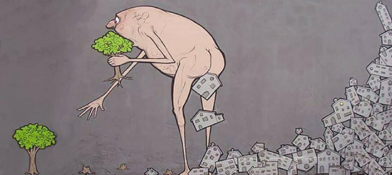 Il consumo del territorio. Uomo mangia alberi